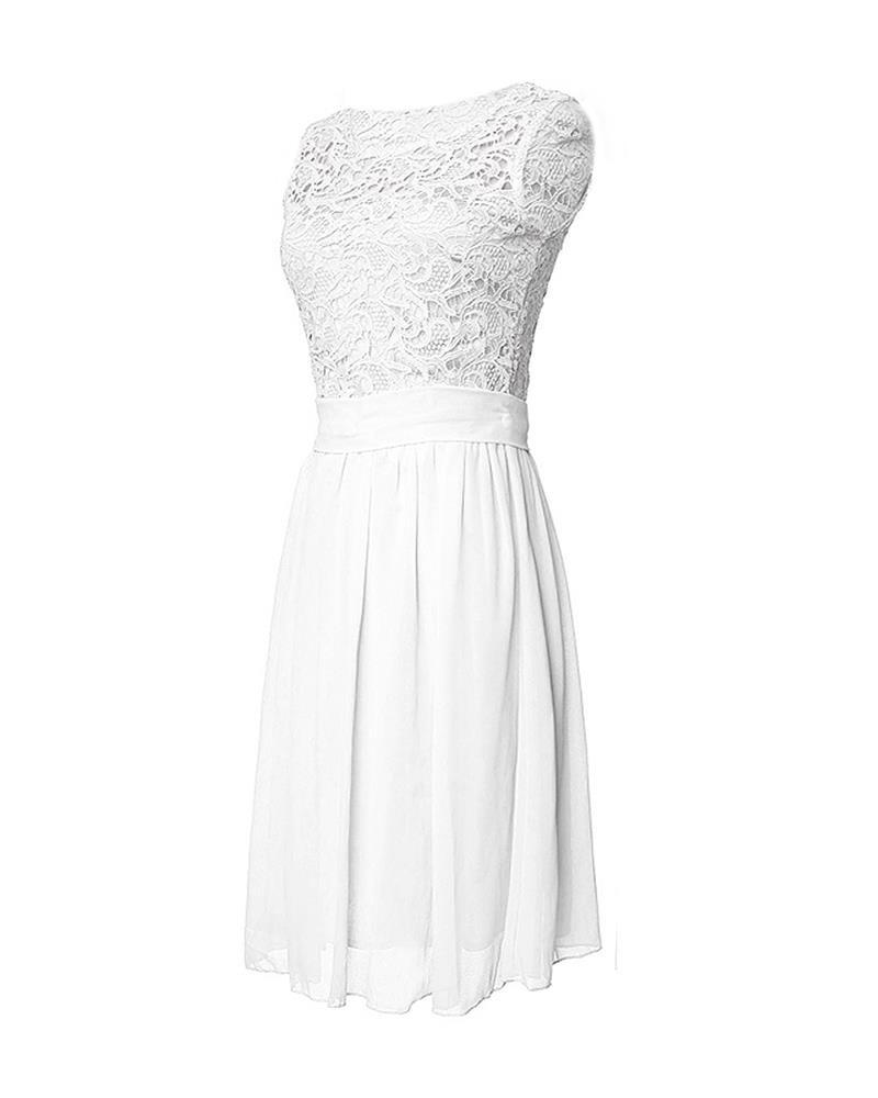 Sleeveless Knee Length Wedding Lace Party Dress-Dress-SheSimplyShops