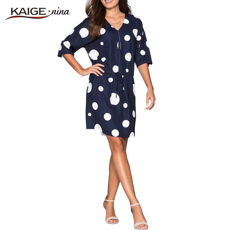 KaigeNina New Fashion Hot Women Chic Natural Vintage Dresses Sheath Print O-Neck Knee-Length Chiffon Dress 1100-Dress-SheSimplyShops
