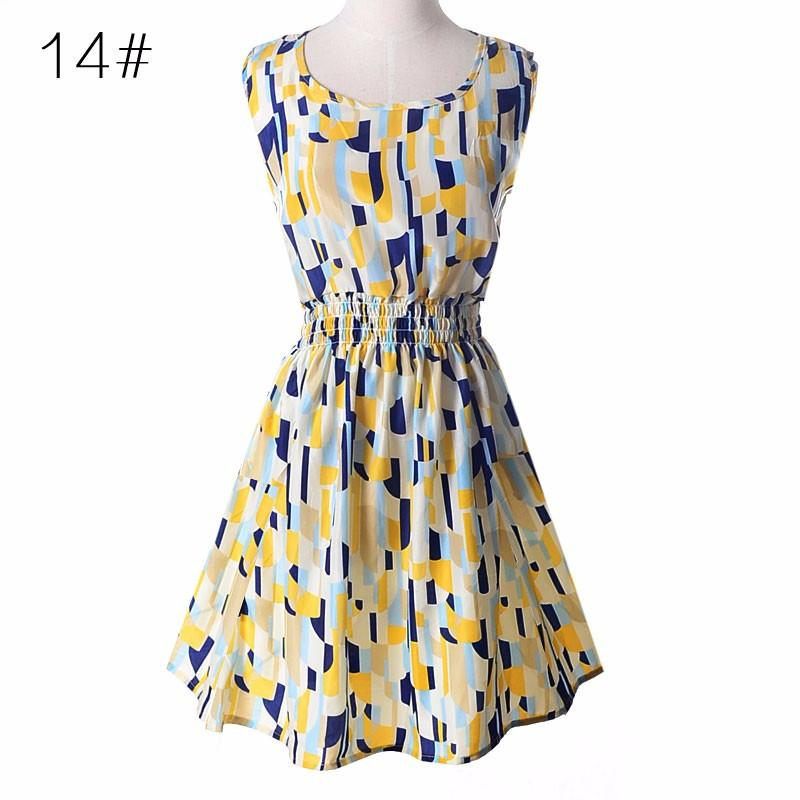 new summer autumn Women casual Bohemian sleeveless printed beach chiffon dress vestidos Large size floral leopard vest-Dress-SheSimplyShops