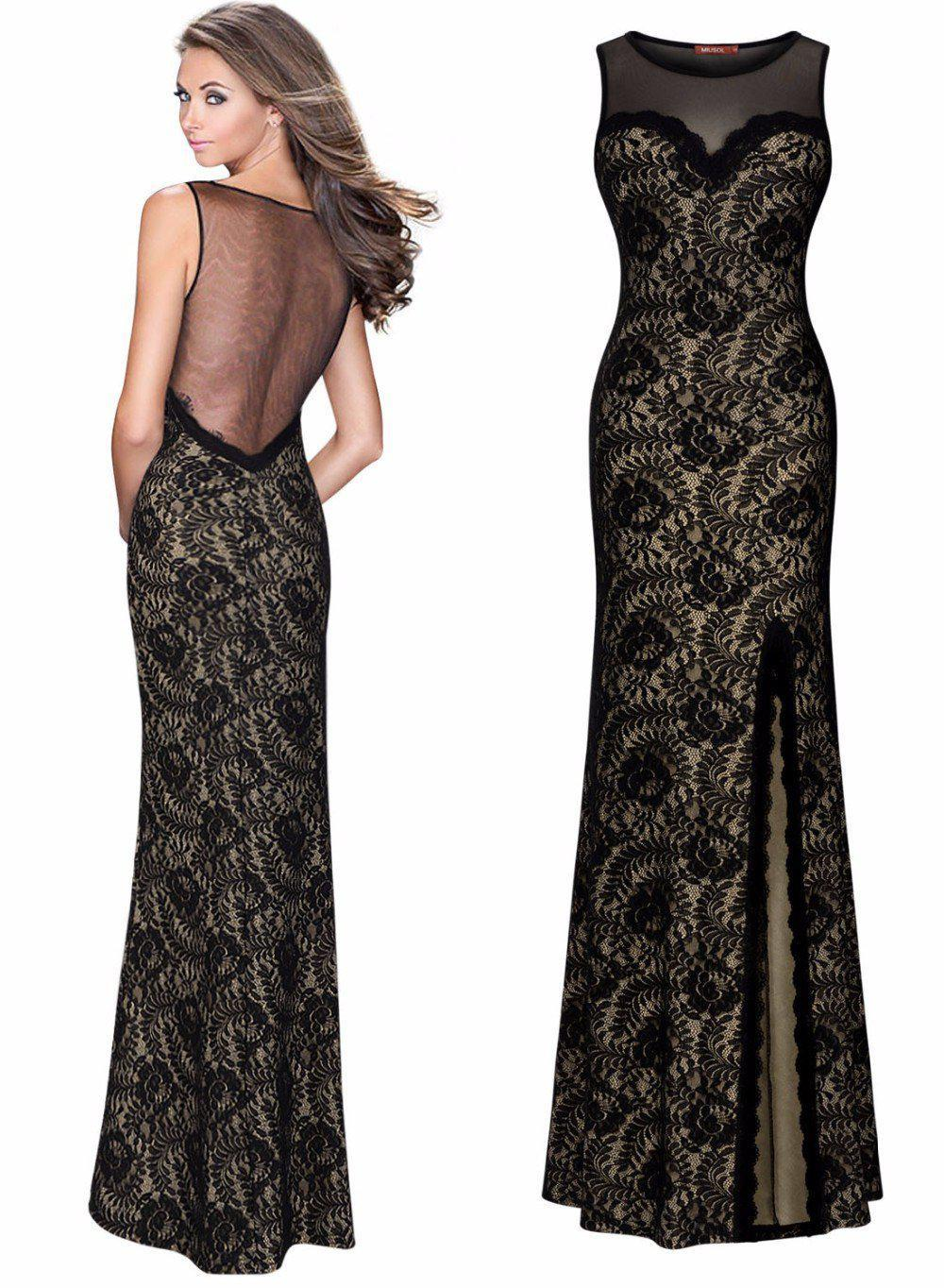 New Black Pearl Women Elegant Lace Stitching Sexy Split Slit Long Maxi Lace Patchwork Bodycon Formal Evening Party Club Dresses-Dress-SheSimplyShops