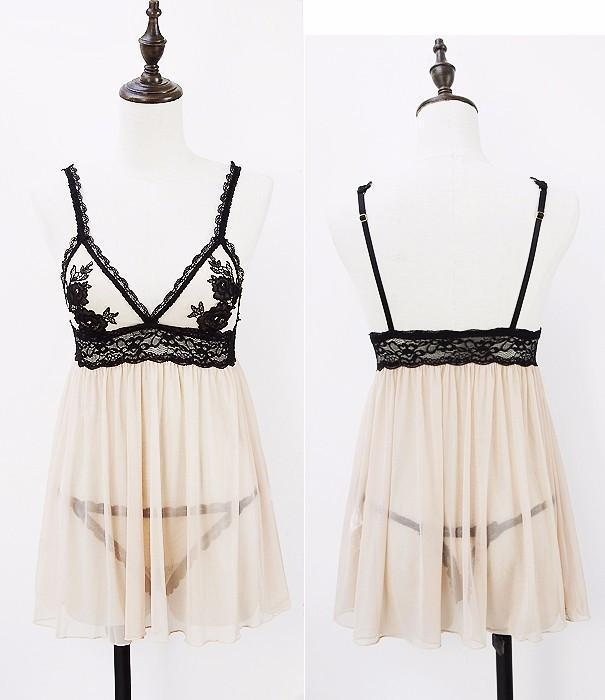 summer new arrival water soluble embroidery lace perspectivity fashion sexy bra nightgown-SheSimplyShops