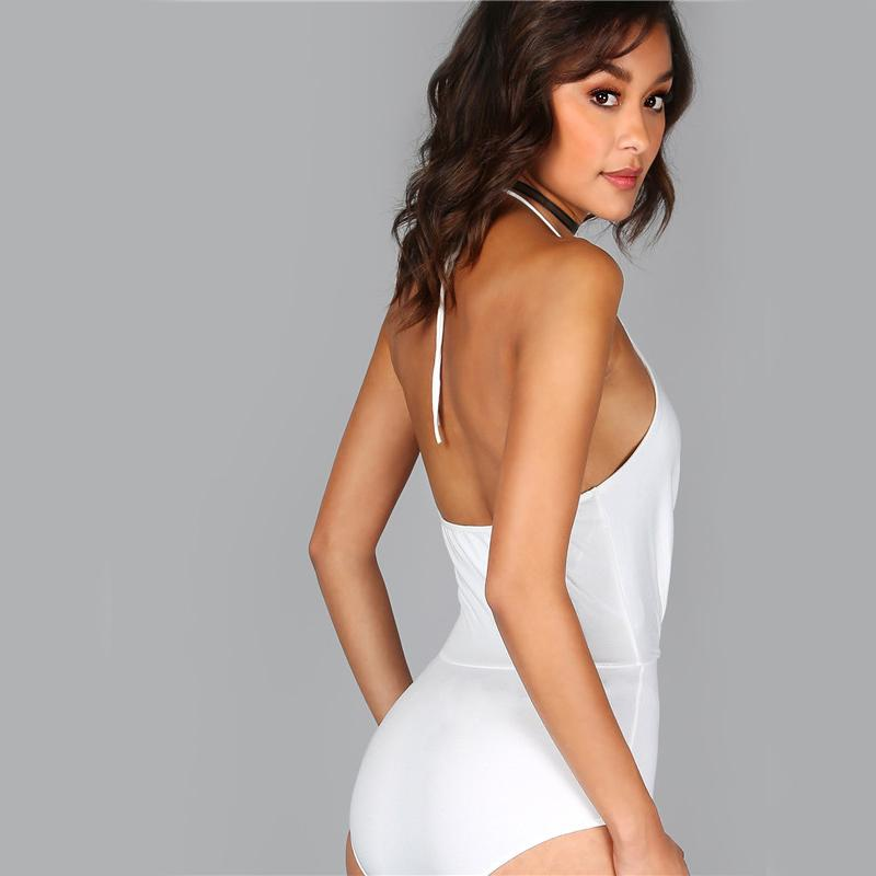 Halter V Neck Surplice White Elegant Women Sexy Slip Fashion New Backless Solid Bodysuit-ROMPERS & JUMPSUITS-SheSimplyShops