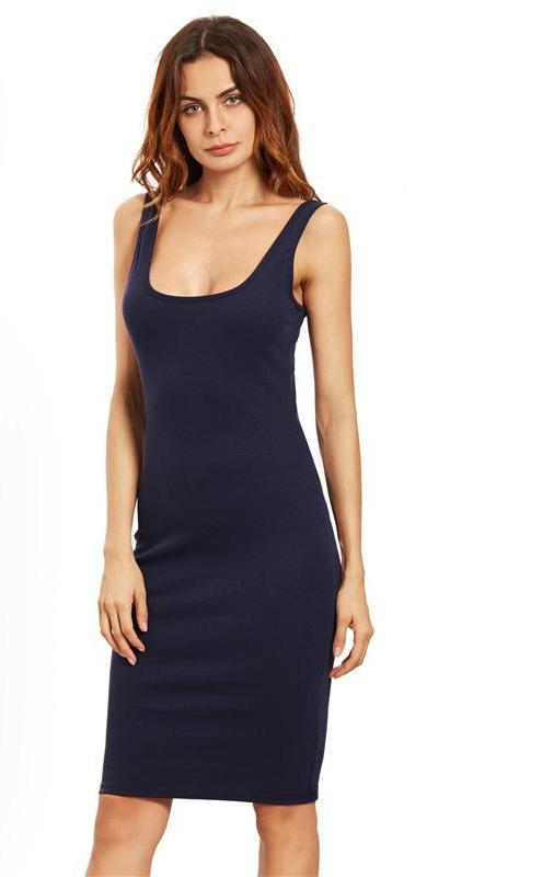 Double Scoop Basic Tank Dress Brief Sexy Women Navy Midi Dresses Elegant Sleeveless Dress-Dress-SheSimplyShops