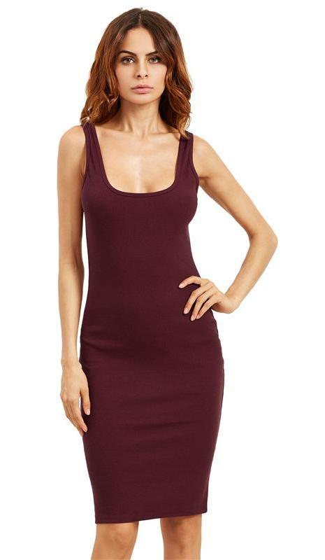 Brief Elegant Tank Dress Basic Women Burgundy Midi Dresses Scoop Neck Solid Casual Dress-Dress-SheSimplyShops