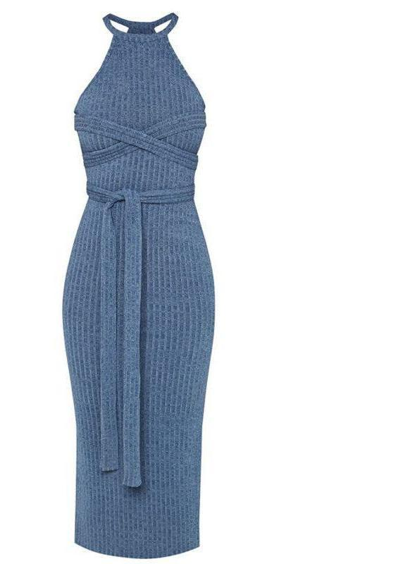 Blue Racer Neck Ribbed Midi Dress Sash Wrap Bodycon Knit Sweater Dresses-Dress-SheSimplyShops