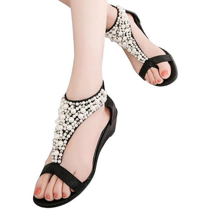 Woman Summer Sandals Open Toe Zipper String Beaded Shoes Female Wedges Thong Sandals Ladies High Heels Shoes Black-SHOES-SheSimplyShops