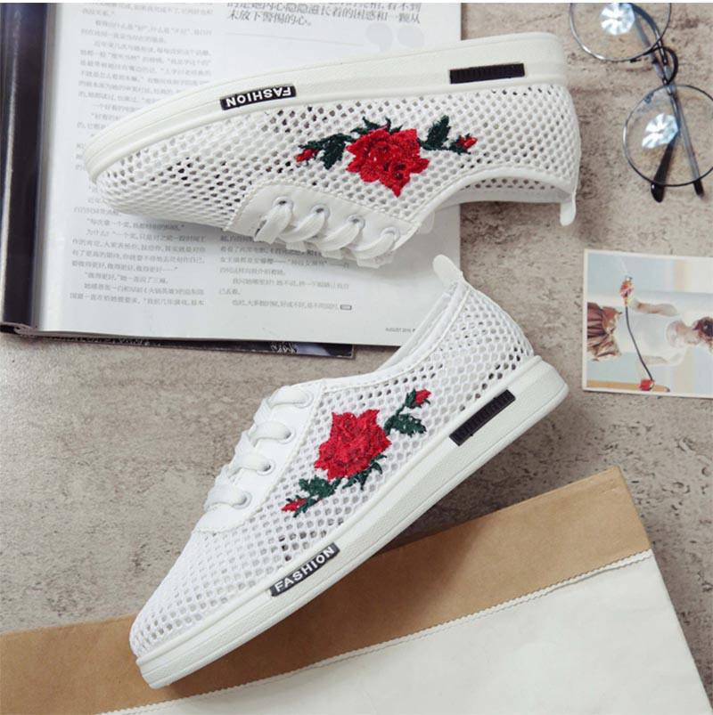 Women Casual Shoes Spring Autumn Lace-up Female Flat Hollow Woman Platform Comfortable Flowers Cut-outs Vulcanize-SHOES-SheSimplyShops