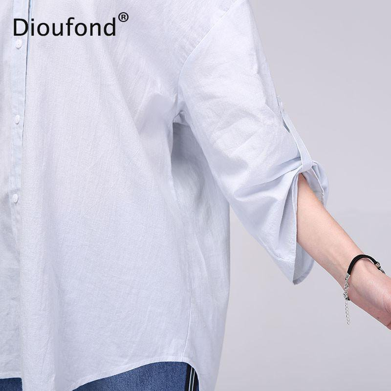 Long Hollow Out Women Blouses Backless White Loose V neck Three Quarter Sleeve Blusas Cotton Casual Shirt-Blouse-SheSimplyShops