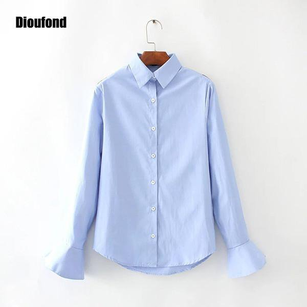 Solid Women Shirts Long Sleeve Ruffles Casual Women Tops Turn Down Collar Blue Ladies Blouse Spring women blusas-Blouse-SheSimplyShops