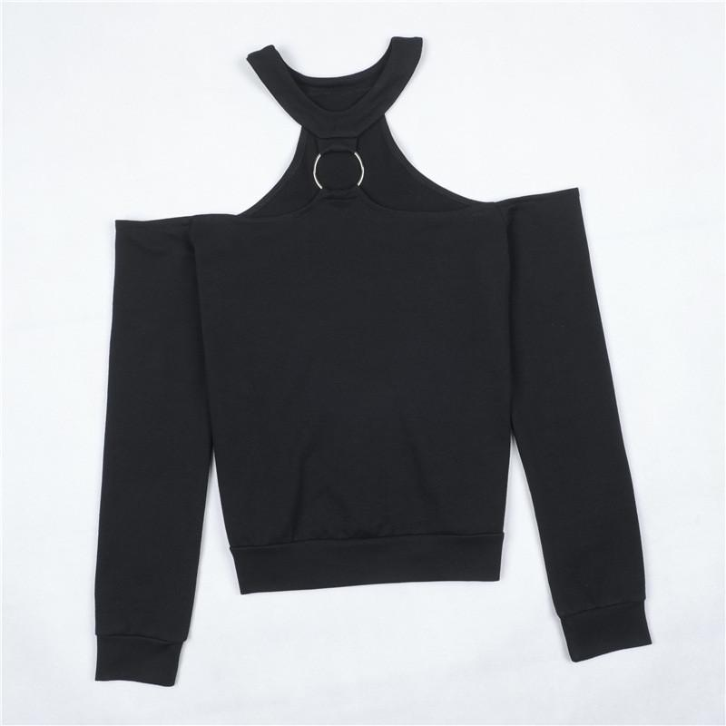 Ring Connected Choker Neck Off Shoulder Sweatshirt Women Pullover New Autumn Tops Jumper-HOODIES-SheSimplyShops