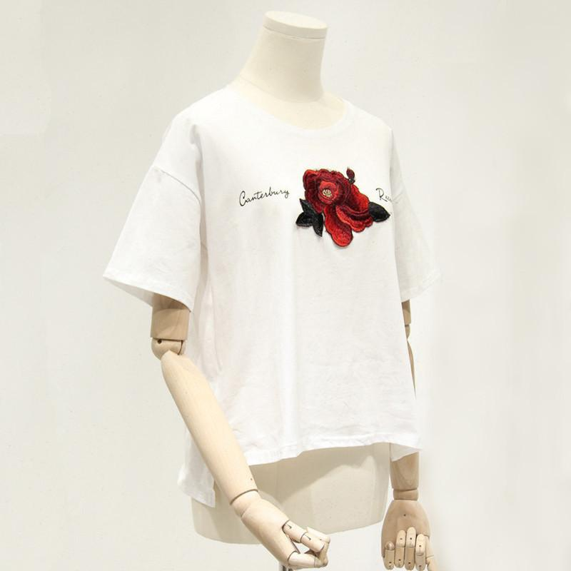 New Rose Embroidery T shirt Summer Short Sleeve Cotton Tee Slouchy Top-SHIRTS-SheSimplyShops