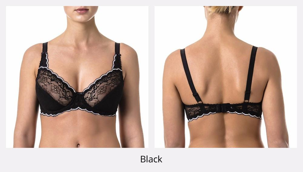 Woman's Bra Lace Black Demi Soft Cup Cotton Lining-Women - Apparel - Bras-SheSimplyShops