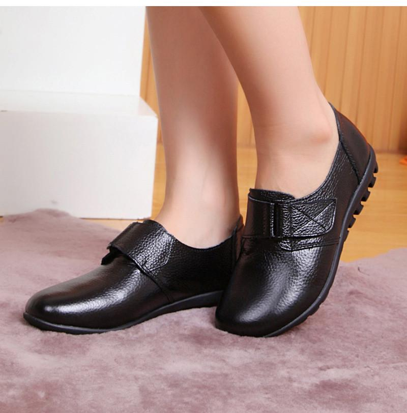 Women Slip-On Genuine Leather Buckle Shoes Female Spring/Autumn Solid Comfortable Flat Woman Ladies Black-SLIPS-SheSimplyShops