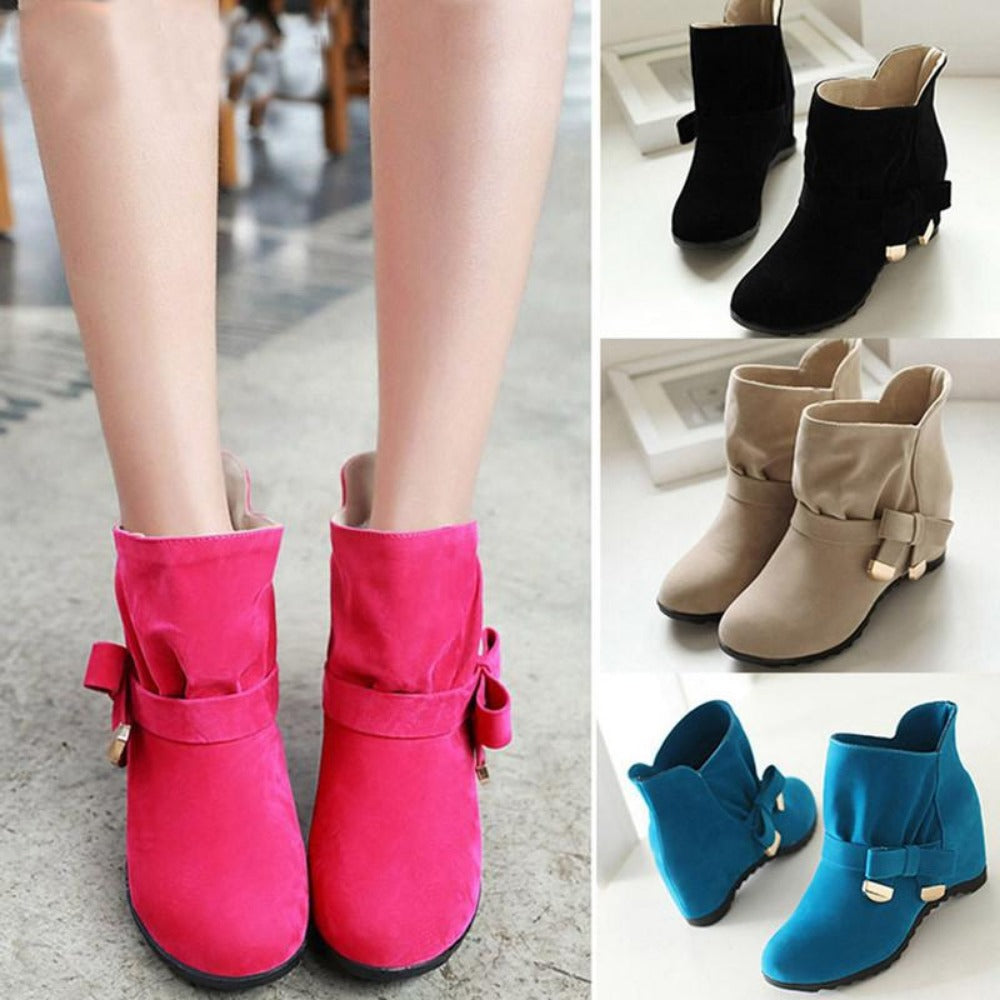 Women Suede Height Increasing Slip On Ankle Boots Butterfly-knot Mid High Casual Black Flock Boots-SLIPS-SheSimplyShops