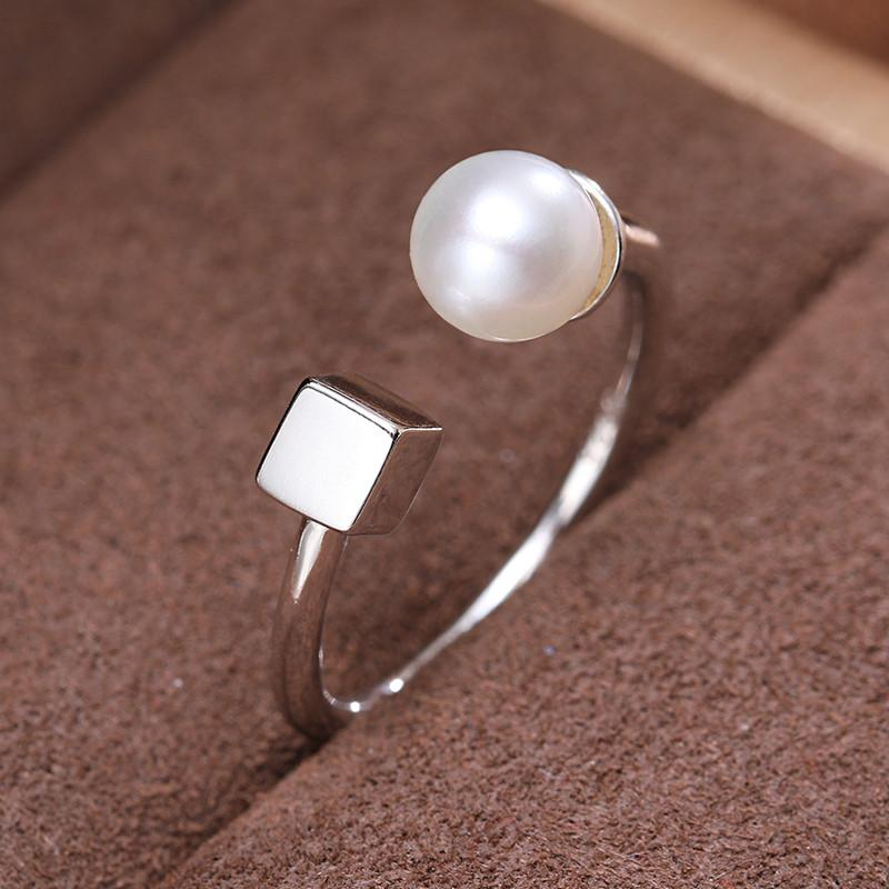 Elegance Square Ring Sterling Silver Ring Perfect Round White Freshwater Pearl Ring Fine Jewelry For Women-JEWELRY-SheSimplyShops