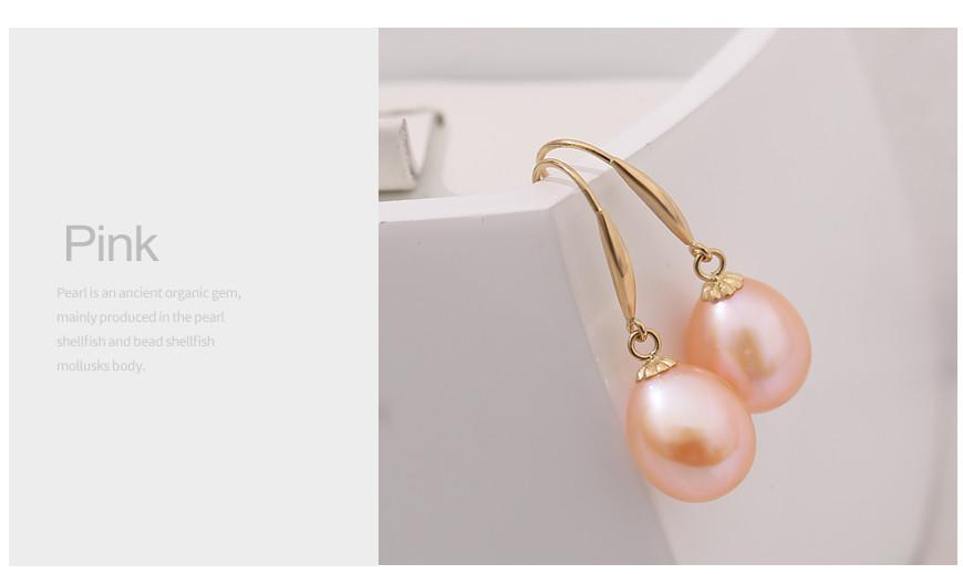 Gold Hook Earrings White Freshwater Pearl Earrings Yellow Gold High Quality Jewelry For Women-EARRINGS-SheSimplyShops