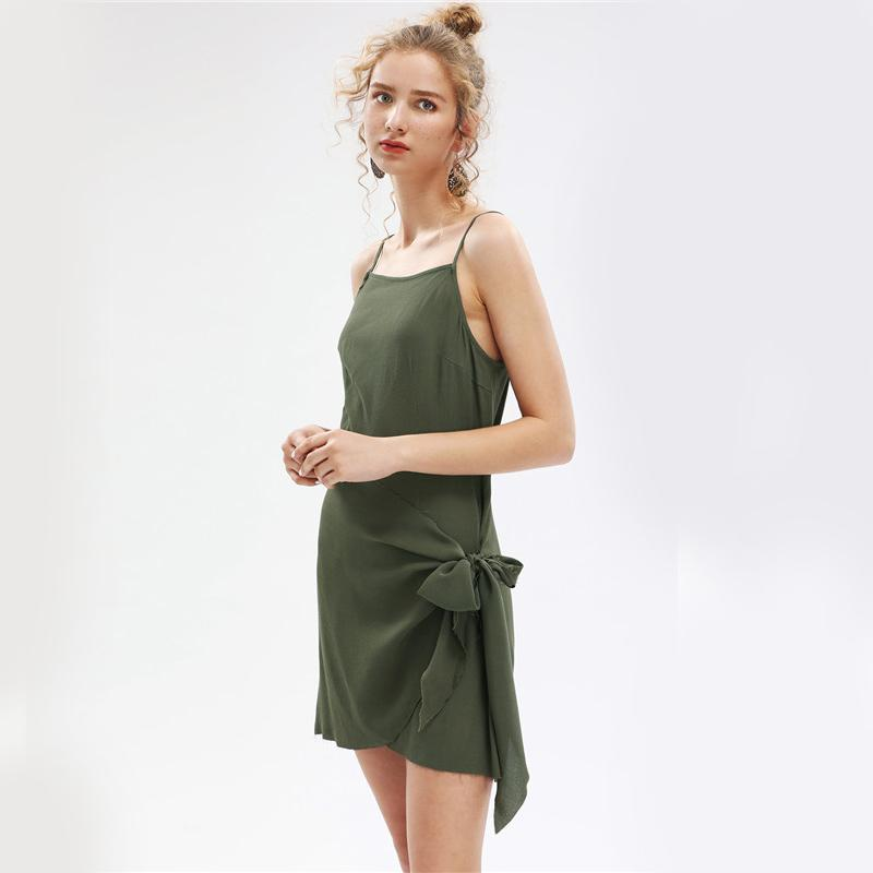 Army Green Dress Brief Self Bow Tie Side Sheath Mini Dresses Women Casual Backless Slip Dress-Dress-SheSimplyShops