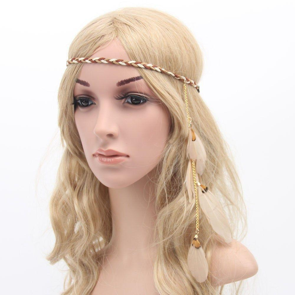 bohemian hair style bohemian peacock feather braided headband hair bands 9352