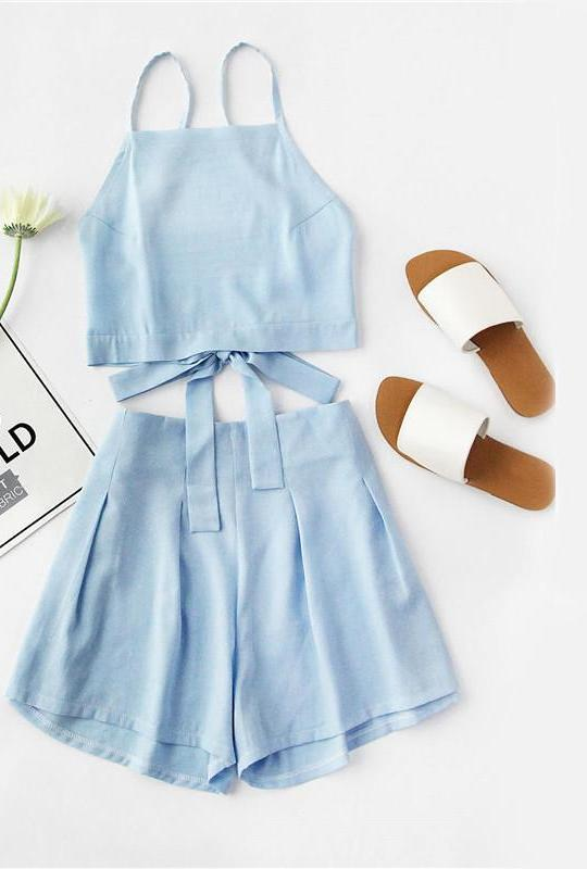 Blue Women Two Piece Set Sexy Bow Tie Open Back Crop Top And Shorts Set Cute Ladies Beach-PANTS-SheSimplyShops