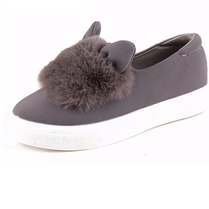 slip ons shoes platform flats New Designer Fashion Real Fur Shoes Woman ears Shoes Female Low Cut Casuals leisures lady-SLIPS-SheSimplyShops