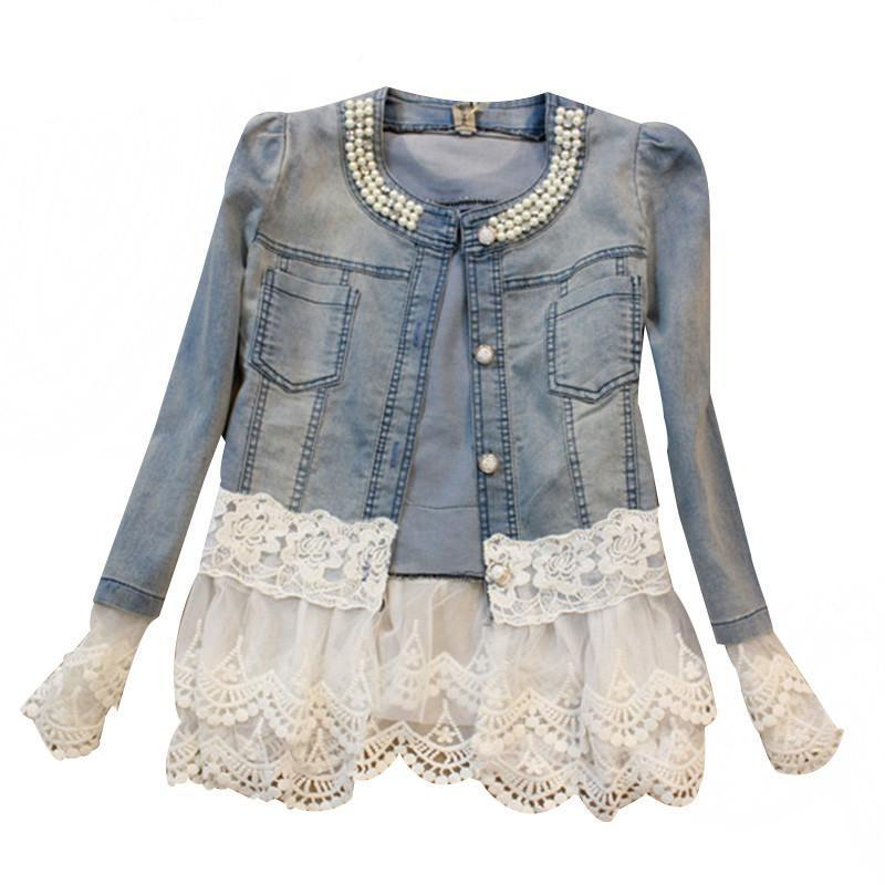 Elegant Slim Lace Patchwork Beading Denim Jacket-Coats & Jackets-SheSimplyShops