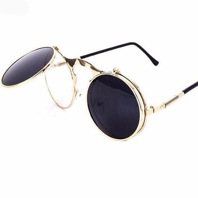 BOUTIQUE NEW STEAMPUNK Sunglasses round Designer steam punk Metal women COATING SUNGLASSES Men Retro CIRCLE SUN GLASSES-Coats & Jackets-SheSimplyShops