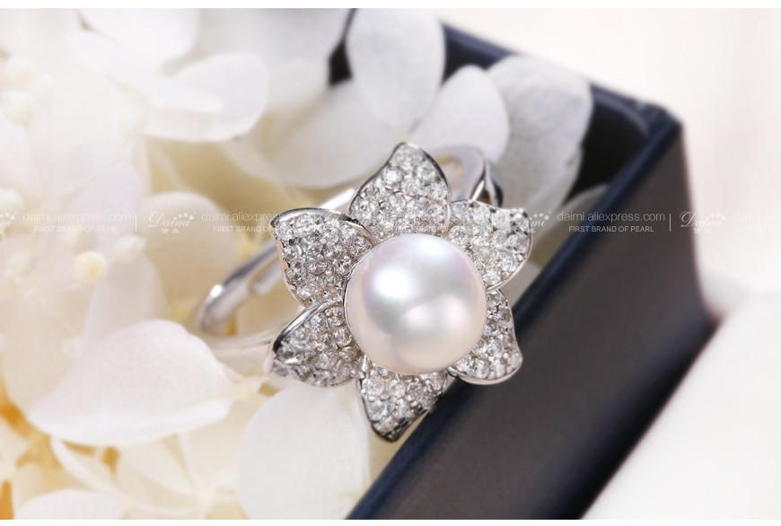 New Trendy Flower Ring 7-8mm White Freshwater Pearl Ring 925 Sterling Silver Ring Gift For Women Fine Jewelry-JEWELRY-SheSimplyShops