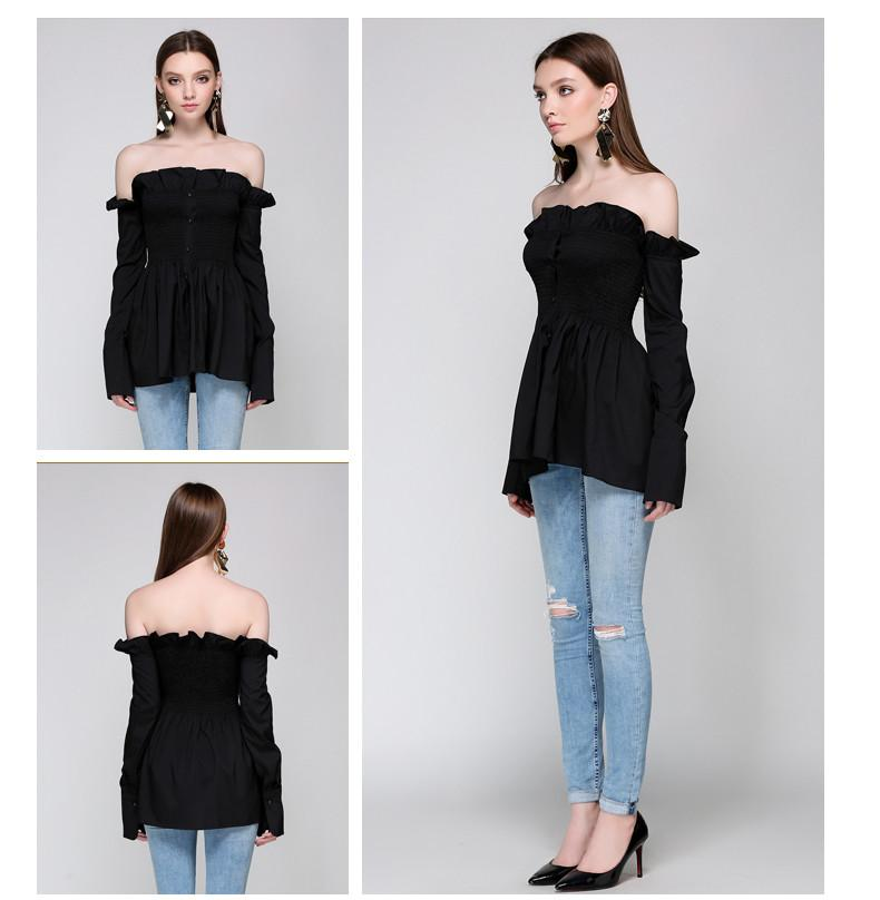 New Fashion Ruffles Blouse Womens Off Shoulder Elastic Waist Sexy Backless Cool Blouse Autumn Blusas-Blouse-SheSimplyShops
