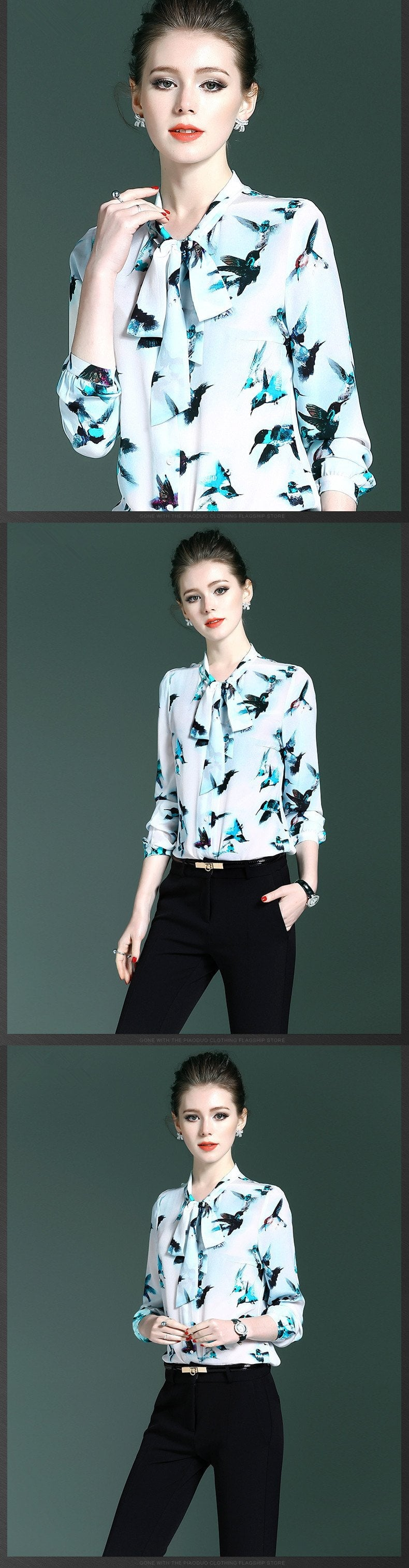 New High Quality Silk Women Blouses Luxury Bow Collar Elegant Work Wear Formal Natural Silk Tops-Blouse-SheSimplyShops