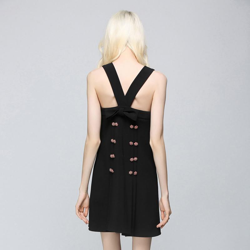 Summer New Arrvial Black Sexy Women Backless O Neck Party Mini Dress Sleeveless-Dress-SheSimplyShops