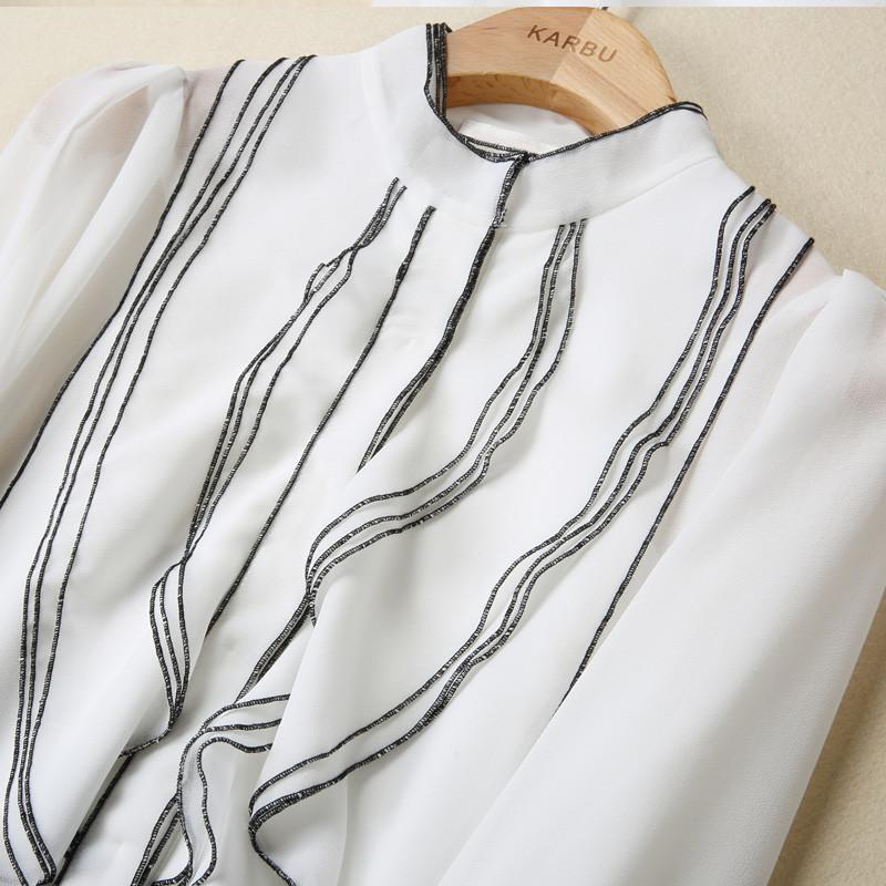 Real Silk Blouse Womens Stand Collar Long Sleeve Striped Blusas Elegant Ruffled Blouse-Blouse-SheSimplyShops