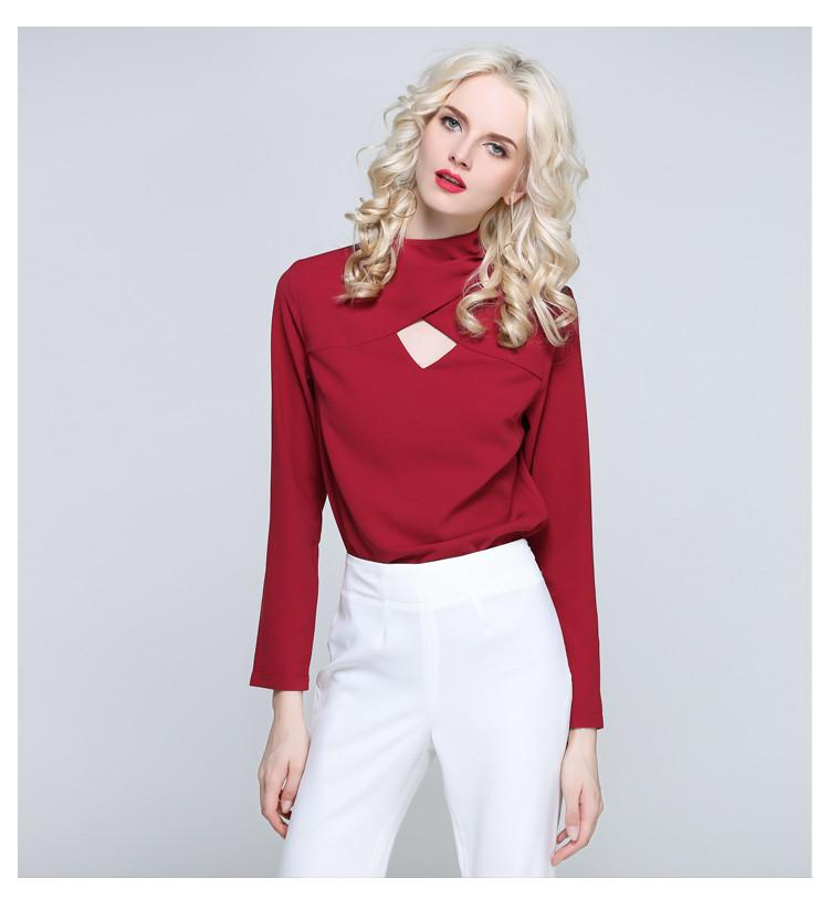 Spring Autumn Women Blouses Long-sleeved Shirts Hole In Front Solid Color Blouse Shirt Women Tops-Blouse-SheSimplyShops