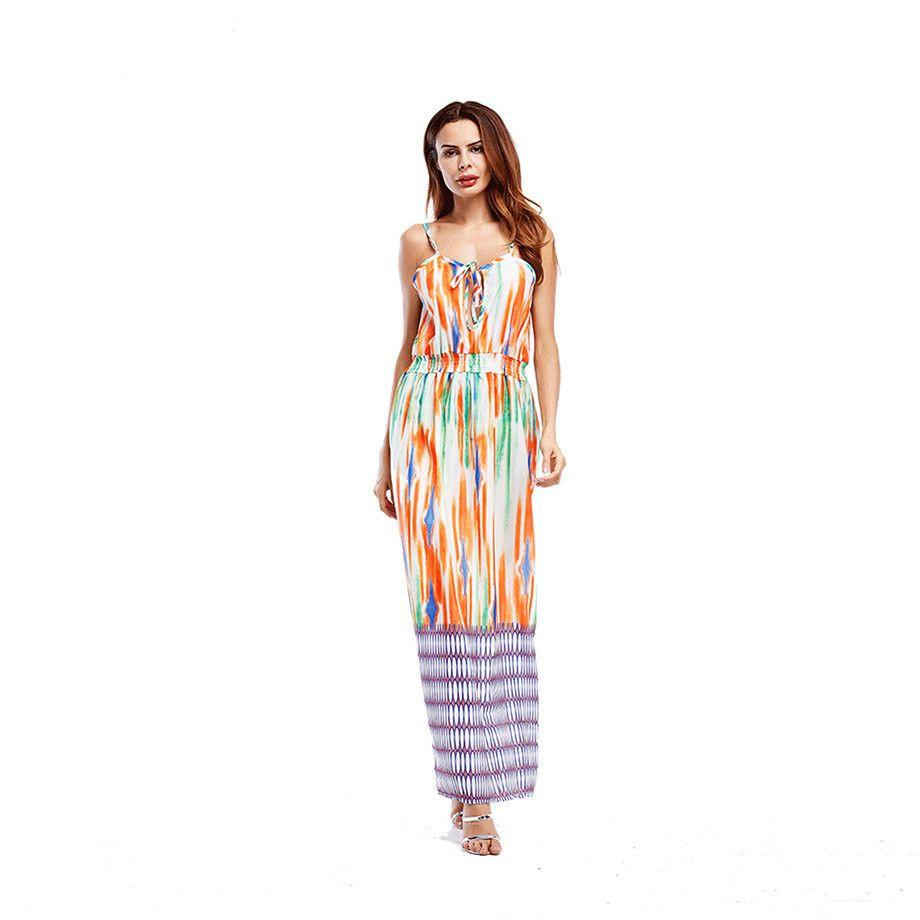 Casual Summer Dress Fashion Printed Spaghetti Strap Maxi Dresses For Women Lace Up Striped Long Dress With Elastic Waist-Dress-SheSimplyShops