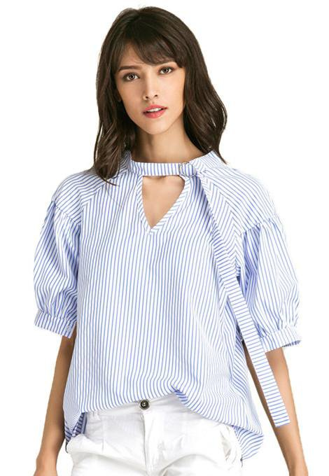 White Blue Striped Shirt Female Summer Casual Loose Blouse Lantern Short Sleeve Shirts Women Clothes-Blouse-SheSimplyShops