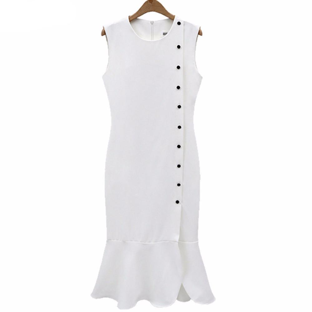 Summer Elegant Slim Dress Cotton Black White Lady Pleated Casual-Dress-SheSimplyShops
