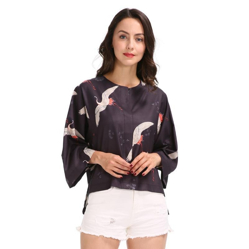 Women cute crane print loose shirts three quarter sleeve o neck blouse fashion ladies tops-Blouse-SheSimplyShops