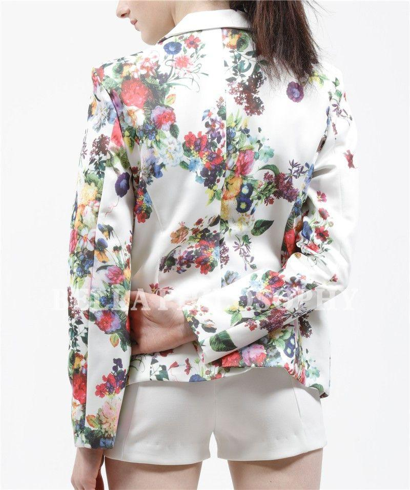 Autumn winter new women's clothing fashion flroal printing slim suit button women white blazer coat real photo-Coats & Jackets-SheSimplyShops