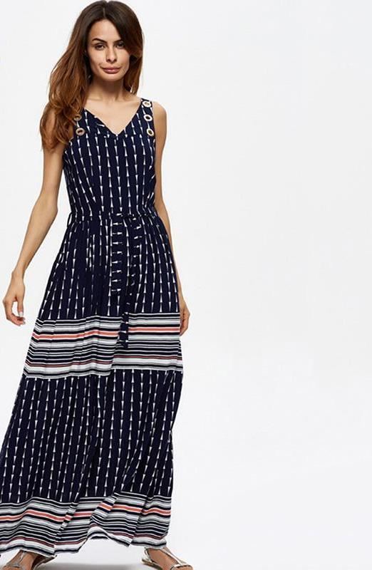 Ladies Long Dress Cotton Stripes V Neck Sleeveless Zipper Belt Backless Party Elegant Sexy Maxi Dresses-Dress-SheSimplyShops
