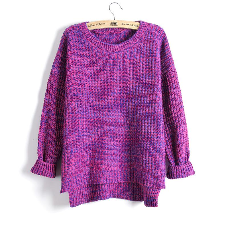 Autumn Winter Fashion Split Swallowtail Female Loose Sweaters Round Neck Women Sweaters And Pullovers-SWEATERS + CARDIGANS-SheSimplyShops
