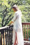 Spring summer European and American style bohemian side split lace long maxi white long sleeve dress-Dress-SheSimplyShops