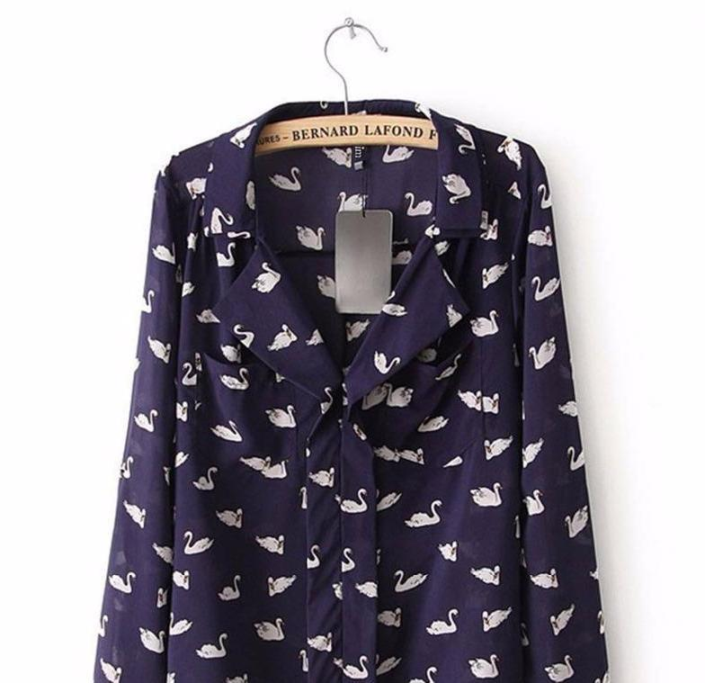 New Fashion women blue cute swan animal print blouse shirt long sleeve Turn-down collar shirt casual slim tops-Blouse-SheSimplyShops