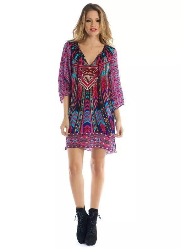 spring new women ethnic vintage dress three quarter sleeve V-neck print chiffon loose rose red-Dress-SheSimplyShops