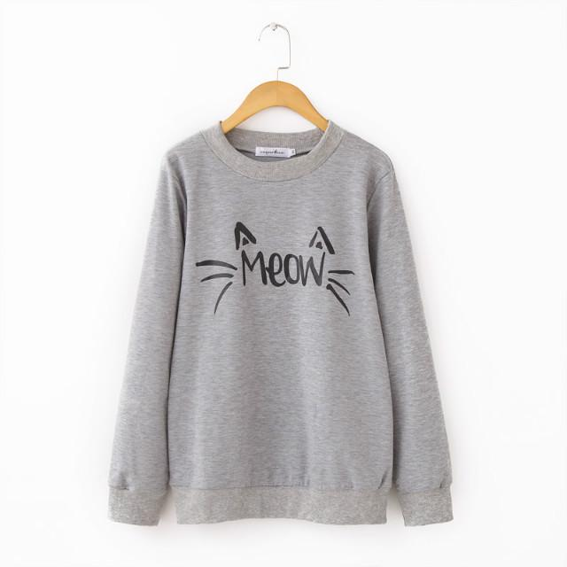 Autumn winter plus size new Cat women's letters printed long sleeve women sweatershirt hoody S-XL black gray-SWEATERS + CARDIGANS-SheSimplyShops