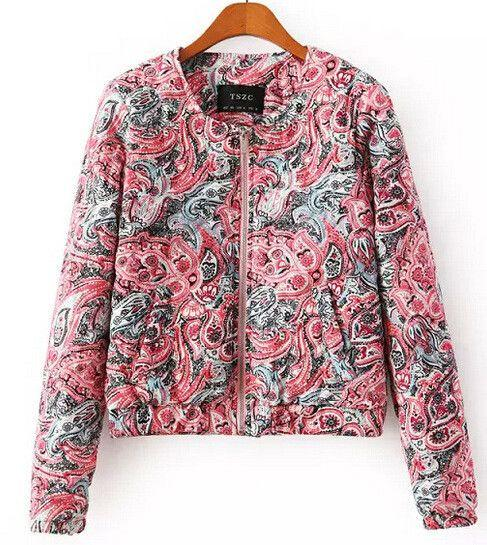 Autumn winter new red cashew print long sleeve women coat jacket with zipper-Coats & Jackets-SheSimplyShops