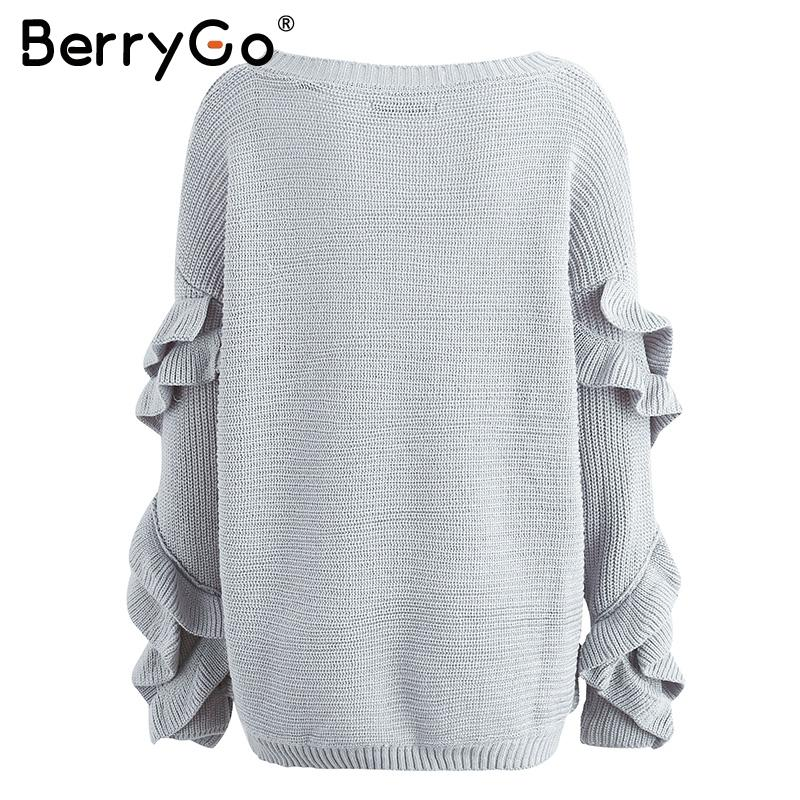 Ruffles flare sleeve knitted pullover Sexy one shoulder round neck sweater women Autumn winter loose jumpers-SWEATERS + CARDIGANS-SheSimplyShops