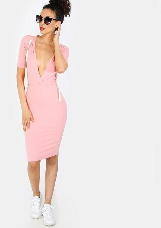 Pink Drawstring Hooded Dress Sexy Plunging V Neck Women Brief Midi Dresses Casual Slim Basic Dress-Dress-SheSimplyShops