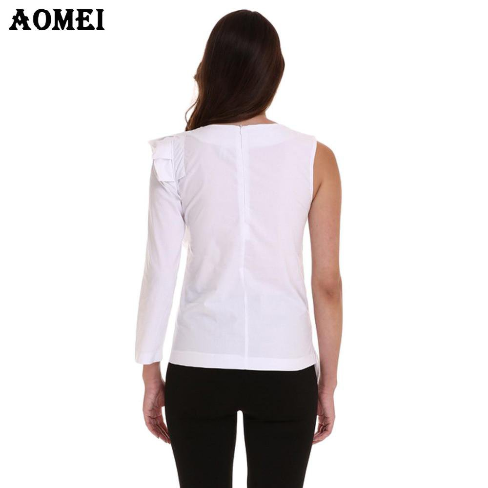 Women One Shoulder Sleeve Cotton Blouses and Shirts Elegant Ruffles Trim Girl O-Neck With Zipper Blouse Tops Fashion Female Wear-Blouse-SheSimplyShops