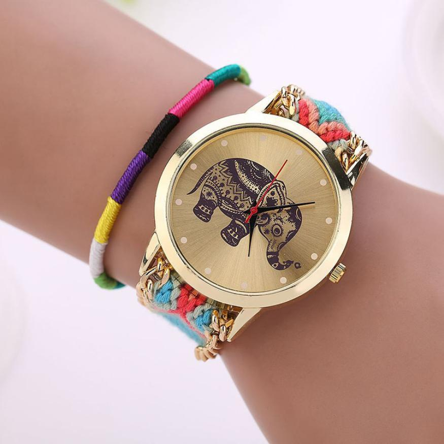 New Design relogio feminino Retro Clock Women Girl watches Handmade Braided Elephant Bracelet Dial Quarzt Watches ladies watch-BRACELETS-SheSimplyShops