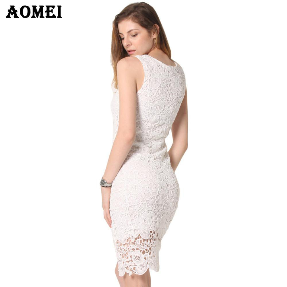 Summer Sleeveless Crochet Dress Embroidery Lace Sundress Ladies White Black Women's Dresses Robes Slim workwear Tunics-Dress-SheSimplyShops