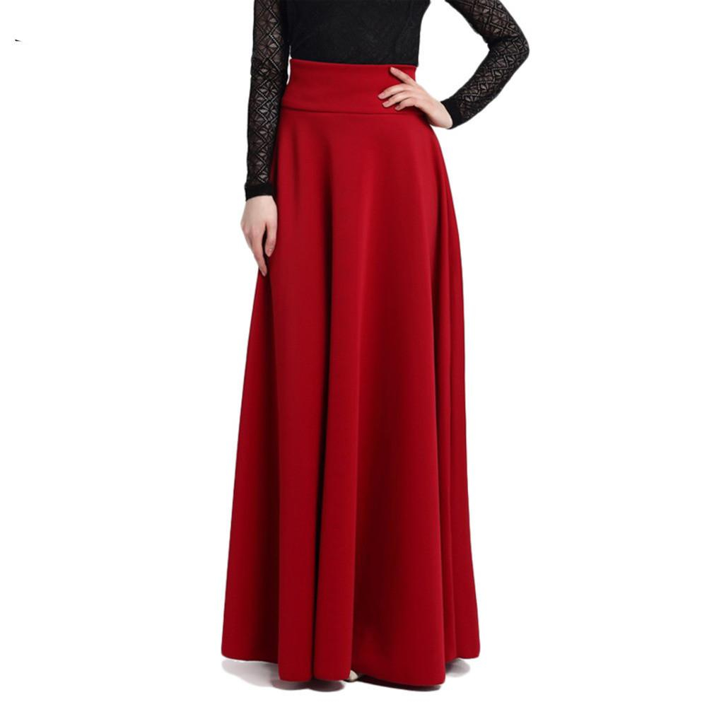 New High Waist Pleat Elegant Skirt Wine Red Black Solid Color Long Skirts-Dress-SheSimplyShops